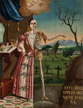 Alegoría de la muerte, Tomás Mondragón, 1856. Óleo sobre tela, 160×125. Pinacoteca del templo de la Profesa.